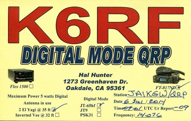 K6RF's QSL
